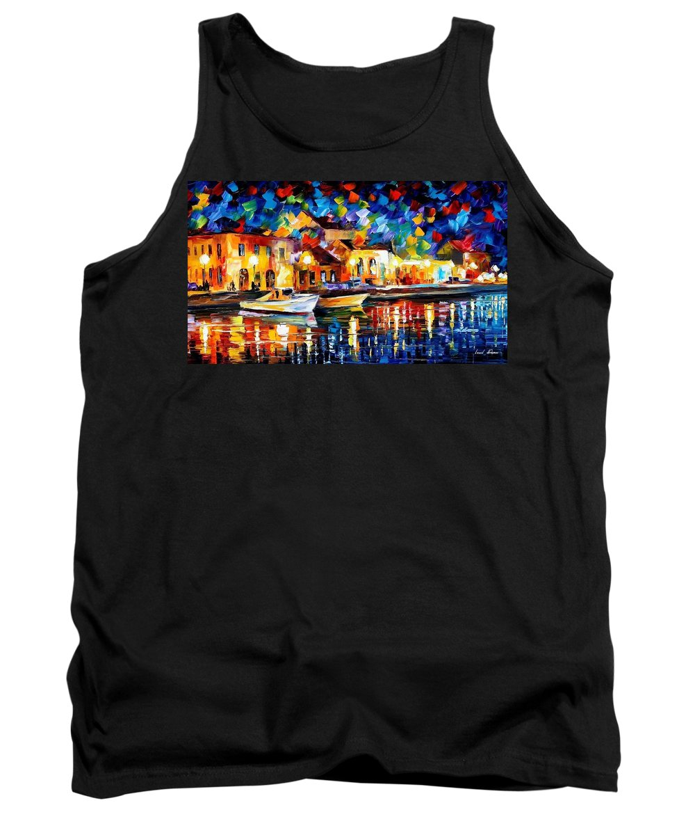 Art Gallery Tank Top featuring the painting Night Riverfront - Palette Knife Oil Painting On Canvas By Leonid Afremov by Leonid Afremov