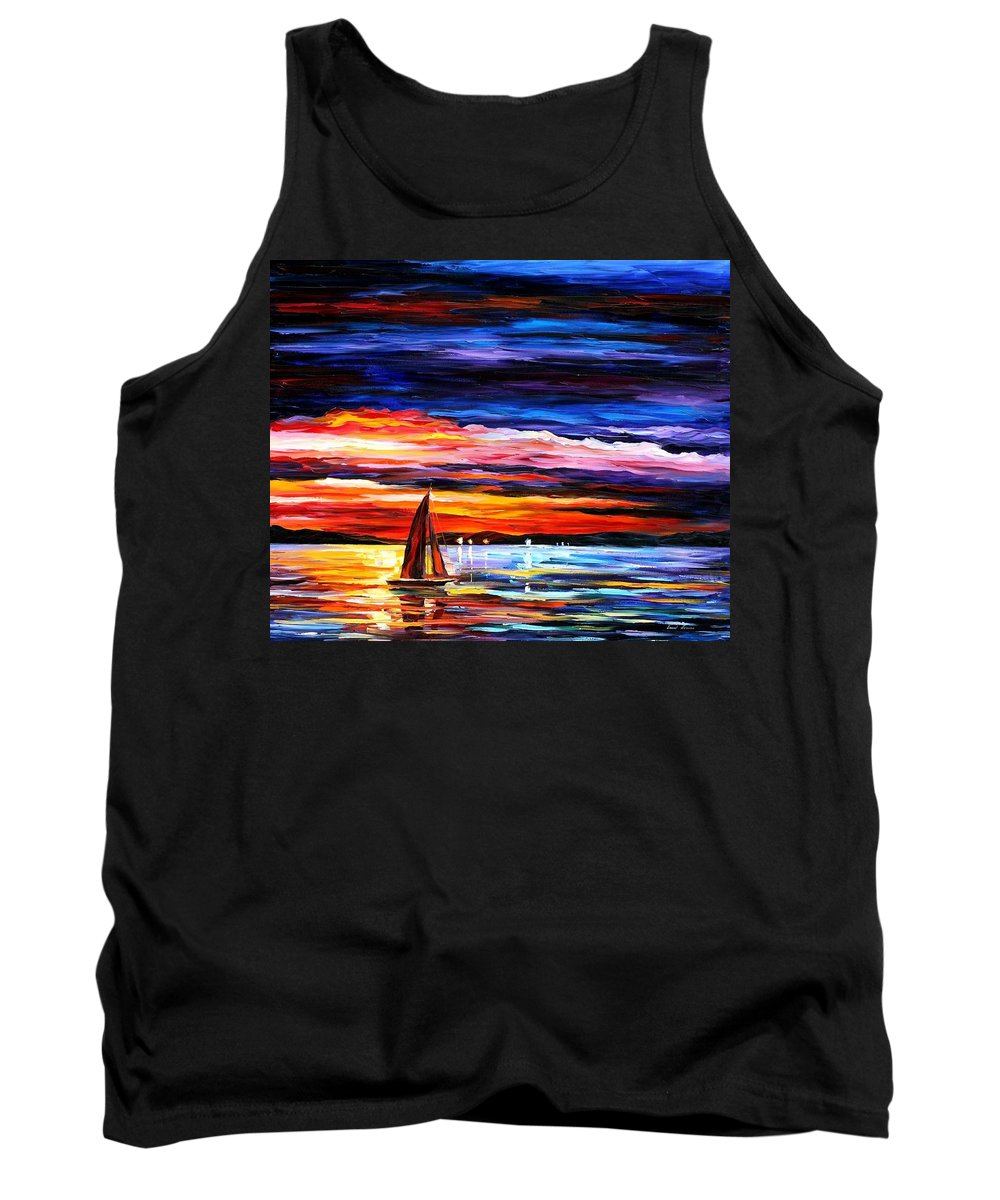 Seascape Tank Top featuring the painting Night Sea by Leonid Afremov