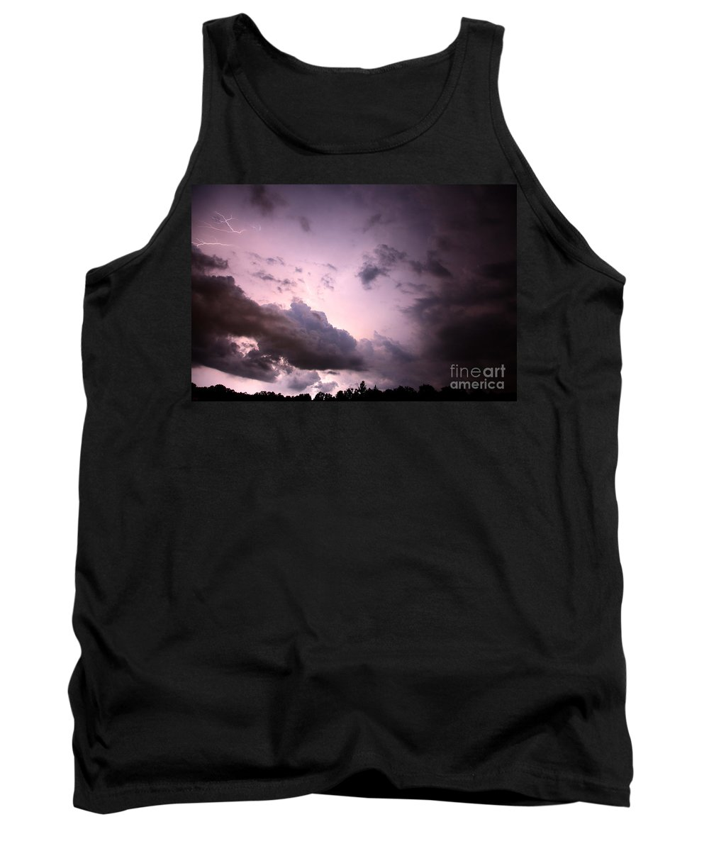 Lightning Tank Top featuring the photograph Night Storm by Amanda Barcon