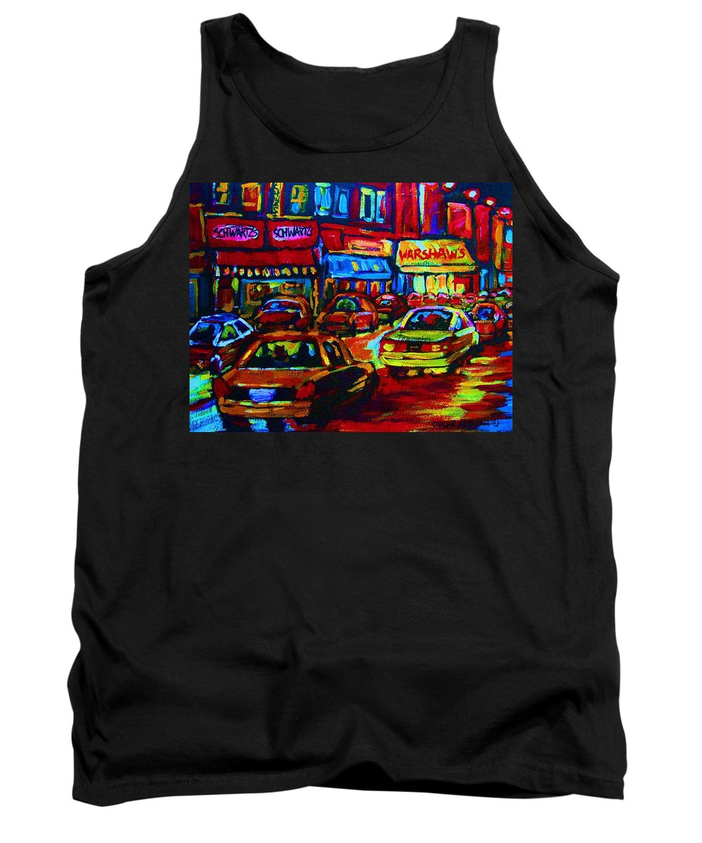 Schwartzs And Warshaws Tank Top featuring the painting Nightlights On Main Street by Carole Spandau