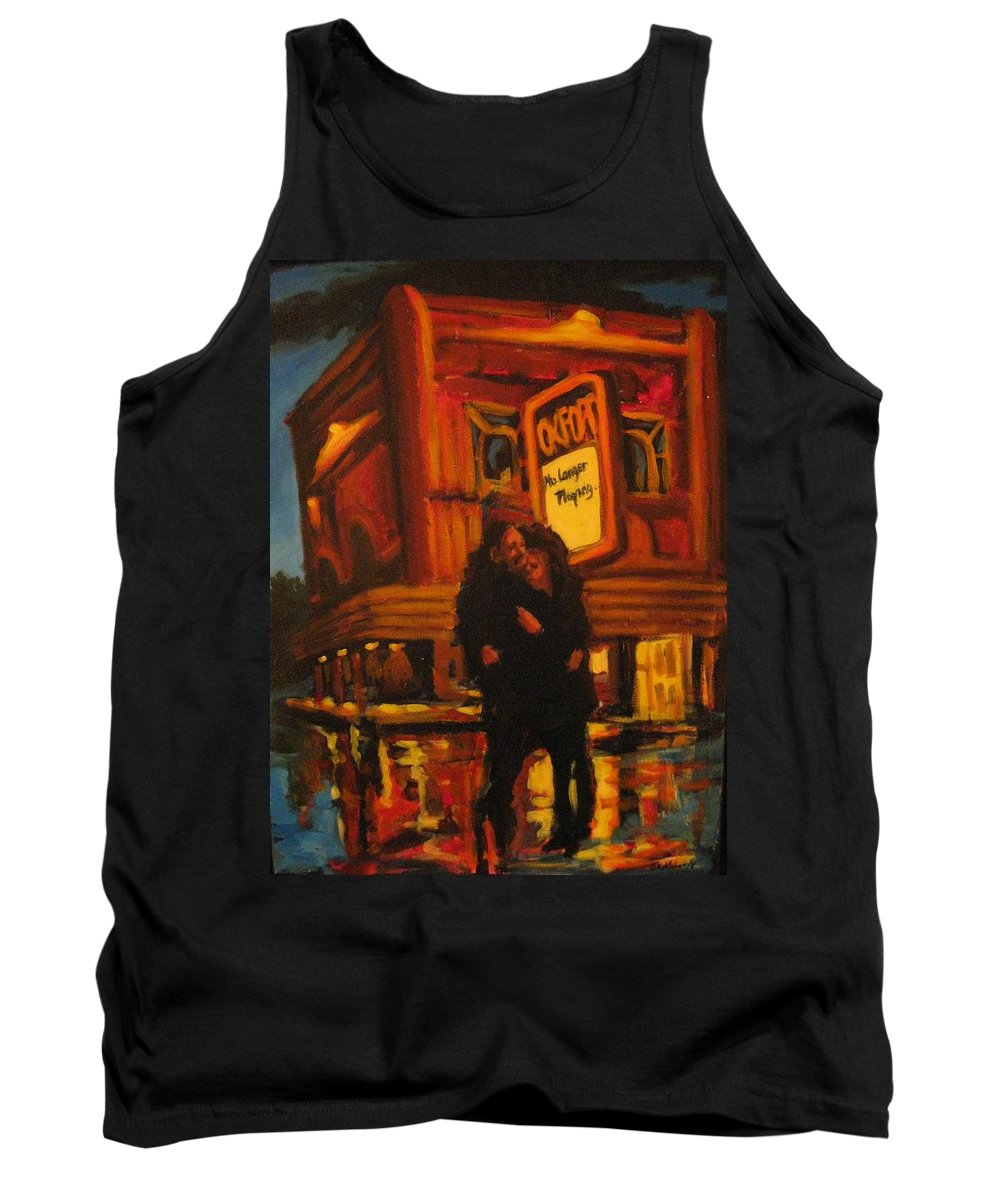 Wet Streets Tank Top featuring the painting No Longer Playing by John Malone