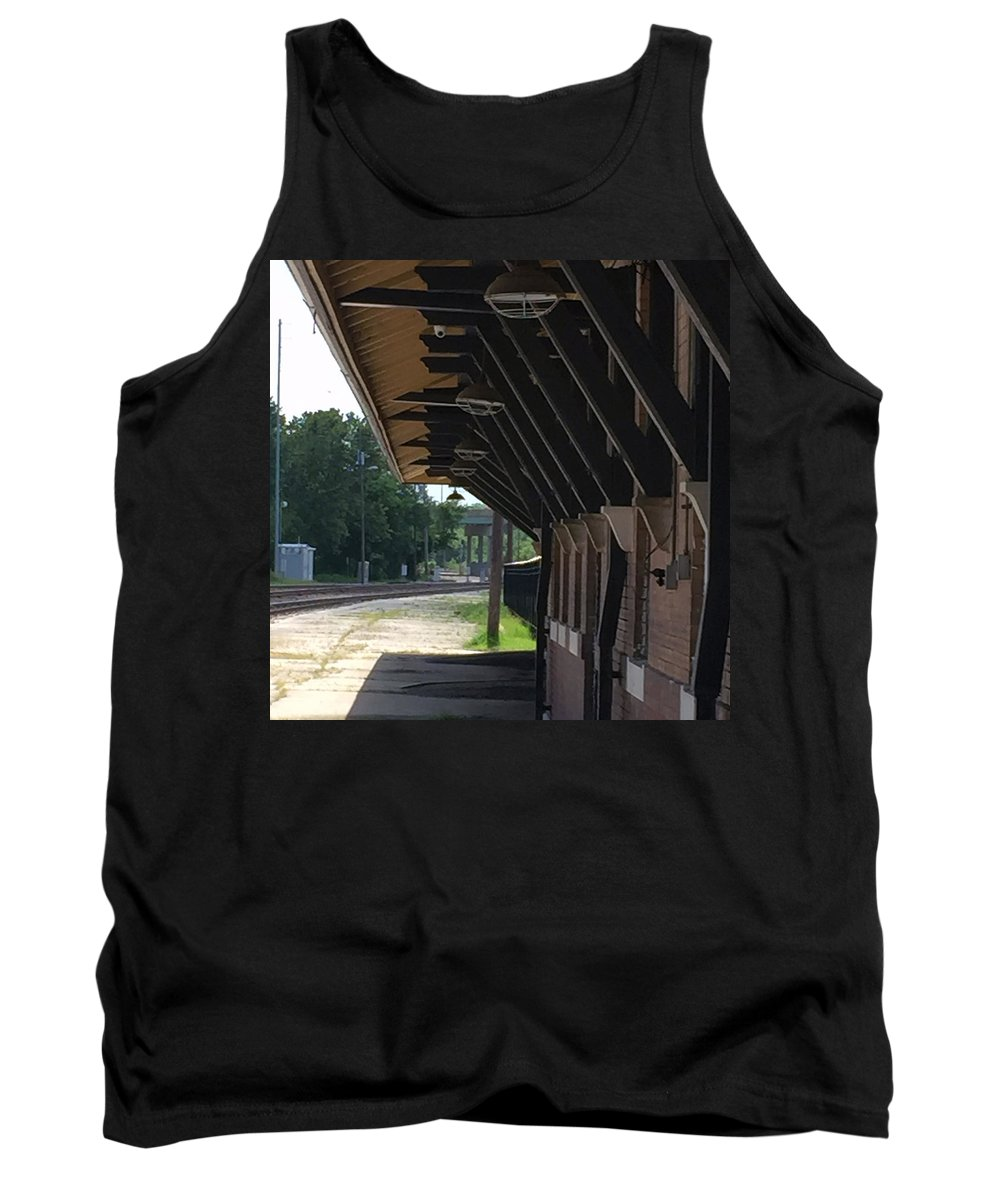 Train Station Tank Top featuring the photograph No Sign Of The Train by James Pinkerton