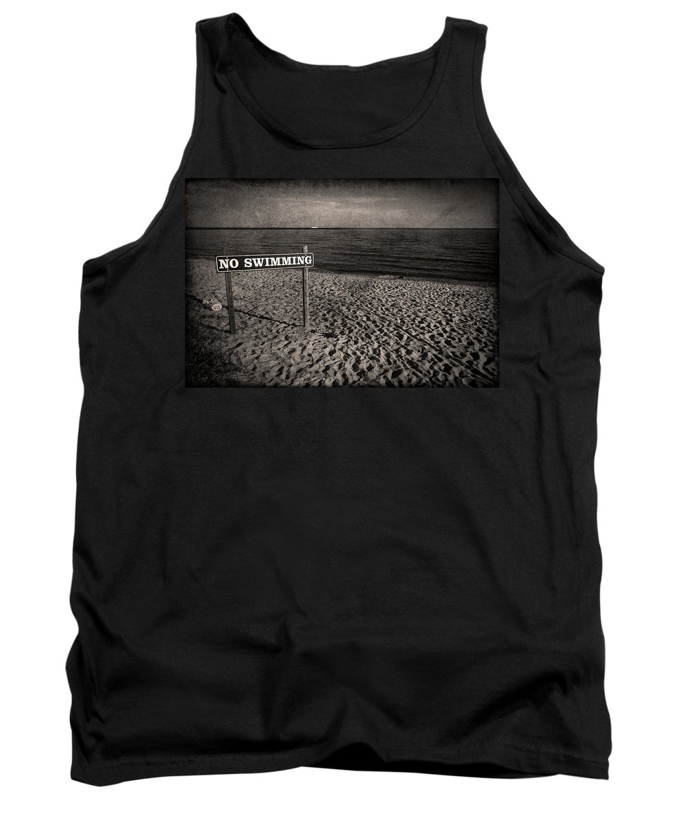 Sign Tank Top featuring the photograph No Swimming by Evelina Kremsdorf