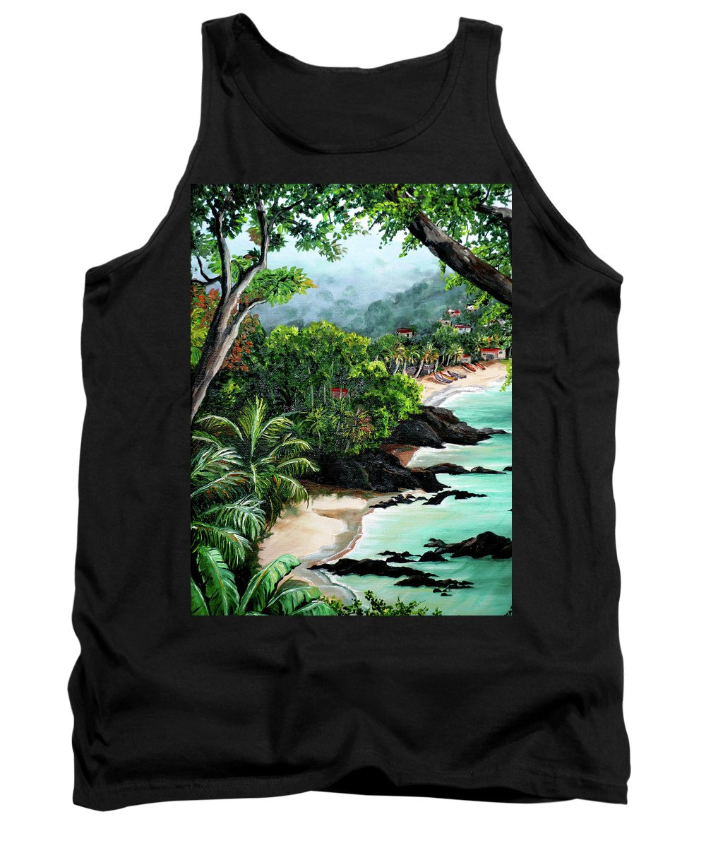 Caribbean Painting Tropical Painting Tank Top featuring the painting North Coast Tobago by Karin Dawn Kelshall- Best