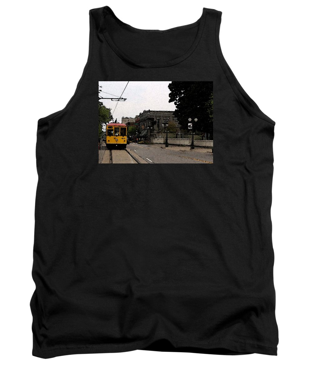 Trolley Tank Top featuring the digital art North Little Rock Argenta District by David McGhee