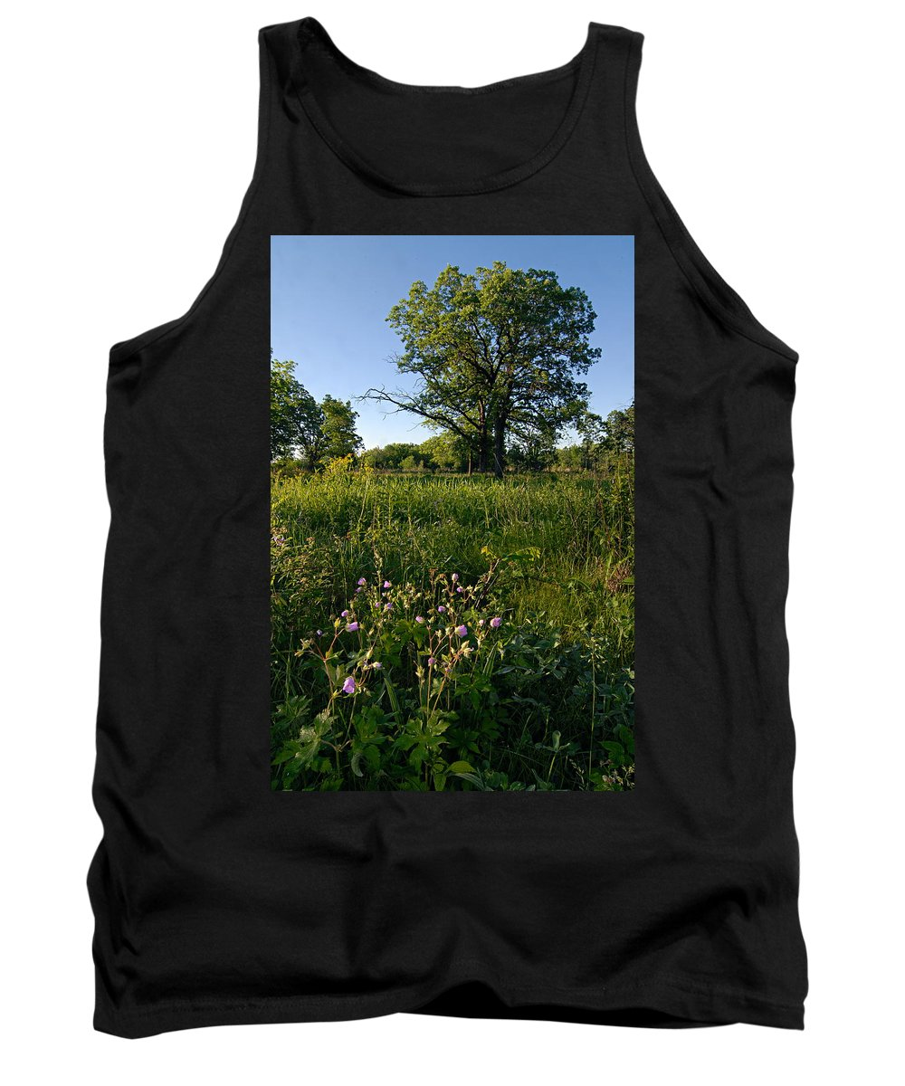 Burr Oak Tree Tank Top featuring the photograph Oak Savanah by Larry Ricker