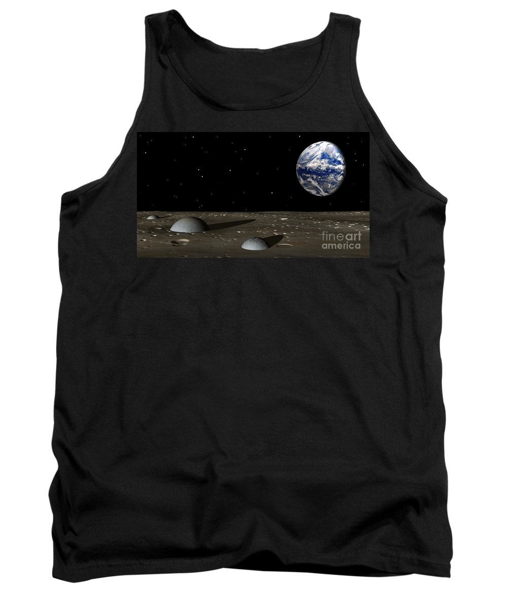 Moon Tank Top featuring the digital art Observing Mom by Richard Rizzo