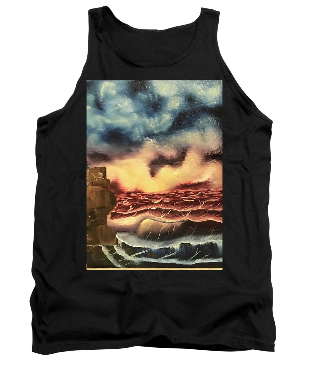 Oil Tank Top featuring the painting Ocean Storm by Brandy Vasquez