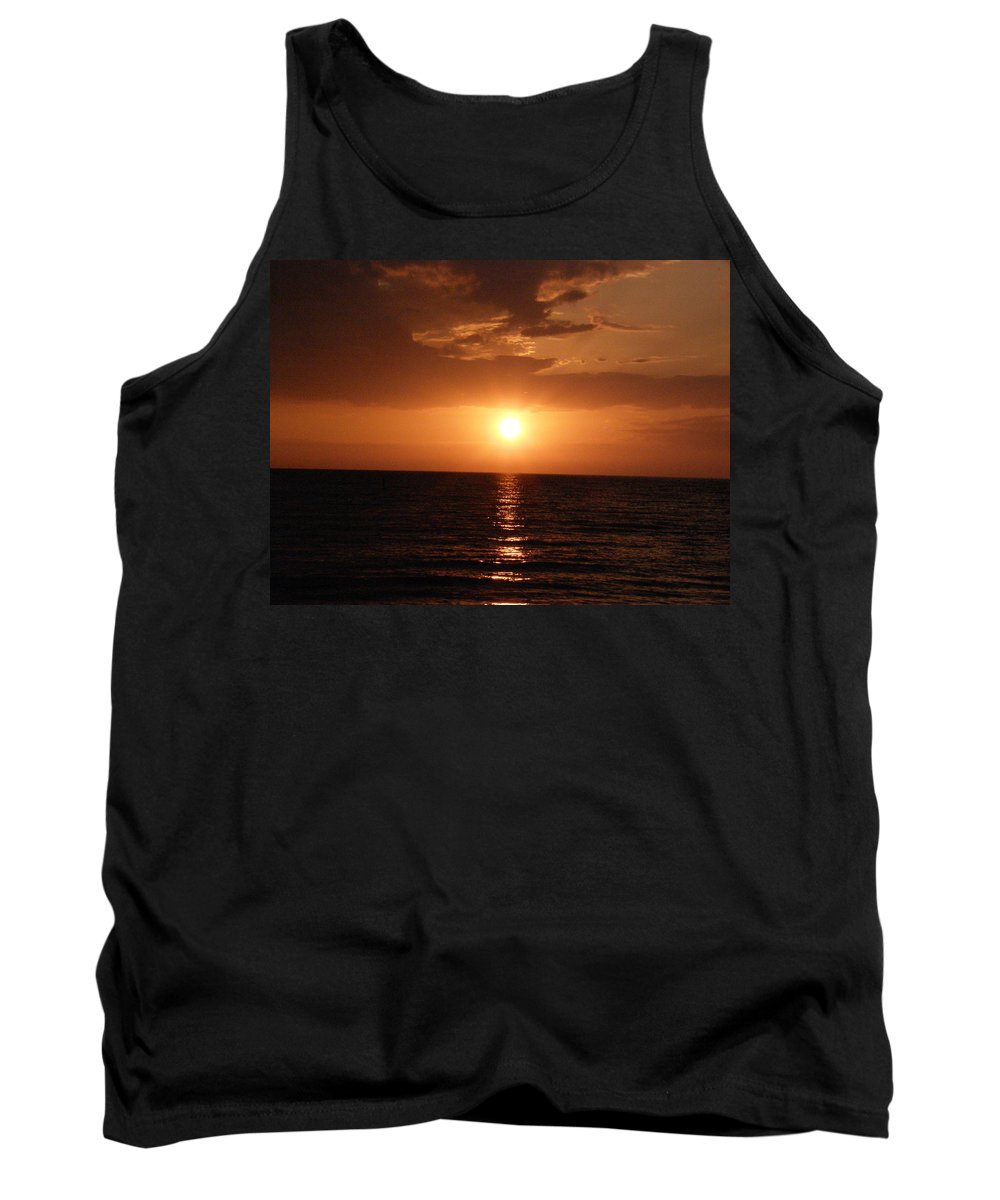 Ocean Tank Top featuring the photograph Ocean Sunset by Alice Markham