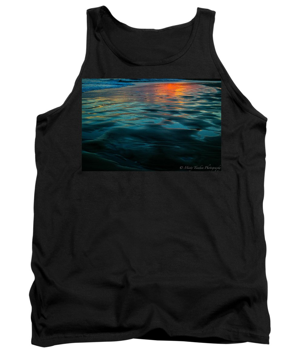 Beach Tank Top featuring the photograph Oceanside Reflective Sunset by Misty Tienken