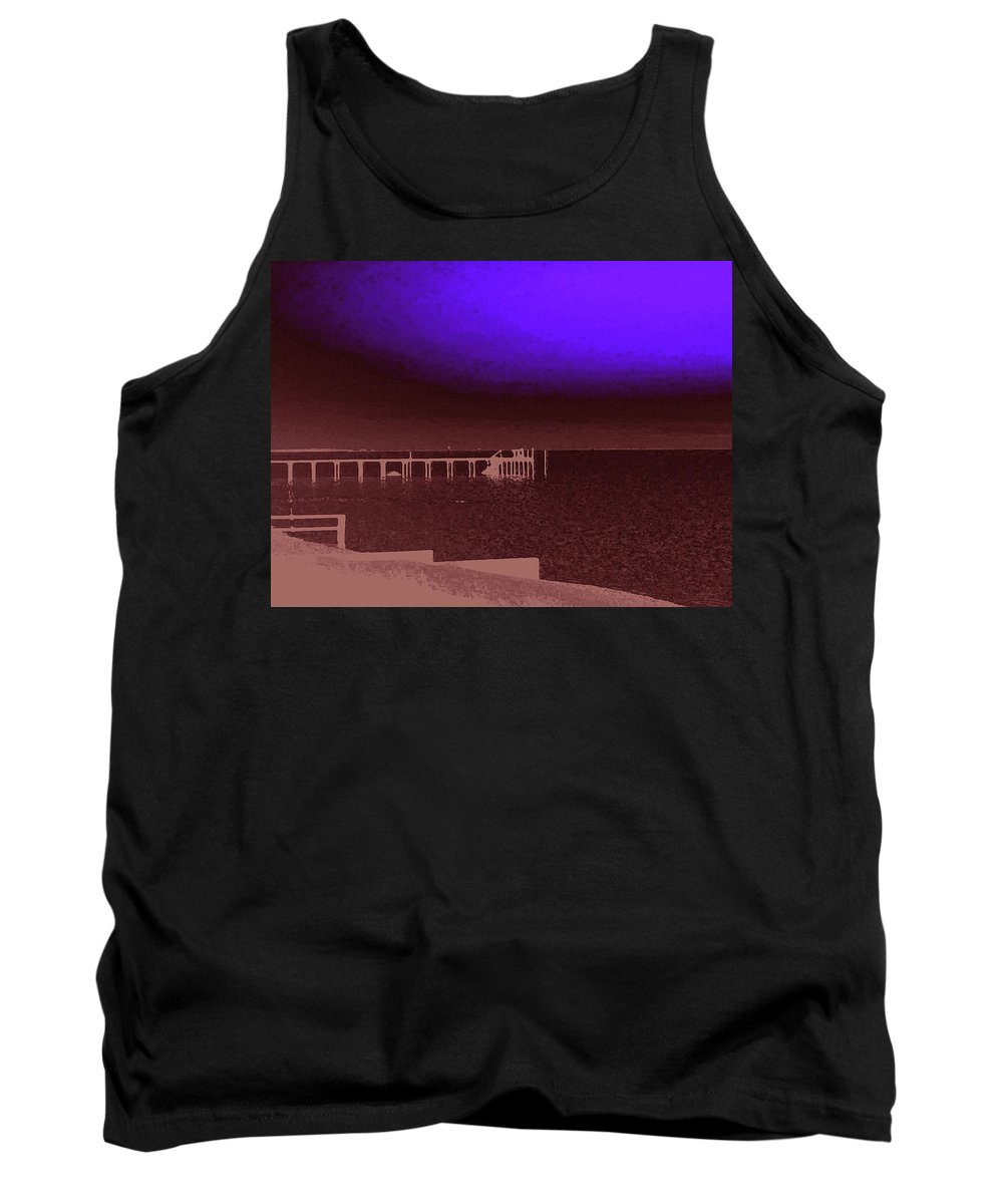 Ocracoke Tank Top featuring the photograph Ocracoke Shoreline Pier by Wayne Potrafka