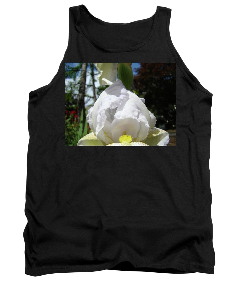 Iris Tank Top featuring the photograph Office Art Prints Iris Flowers White Yellow Irises Baslee Troutman by Baslee Troutman
