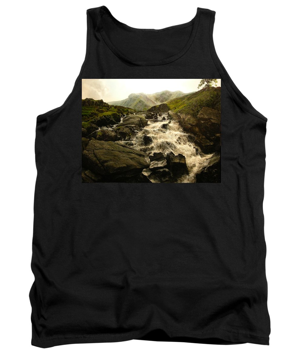Landscape Tank Top featuring the painting Ogwen Falls by Harry Robertson