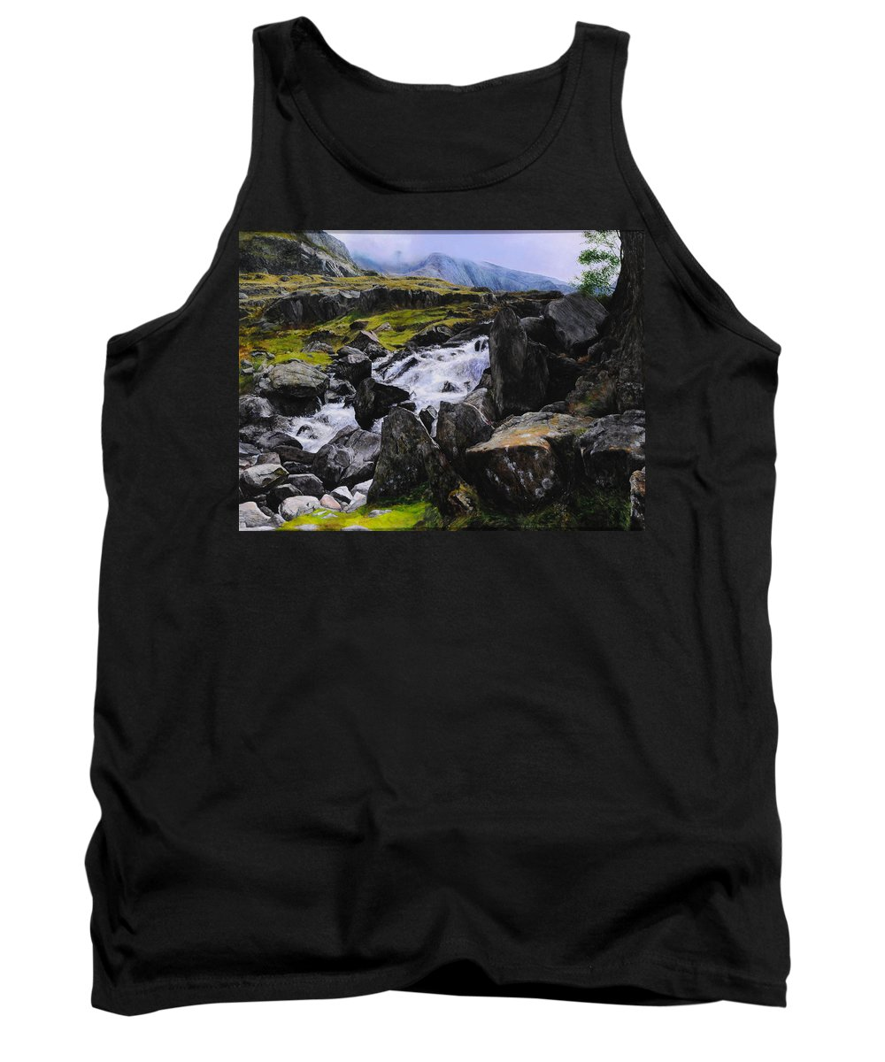 Landscape Tank Top featuring the painting Ogwen Rock Waterfall by Harry Robertson
