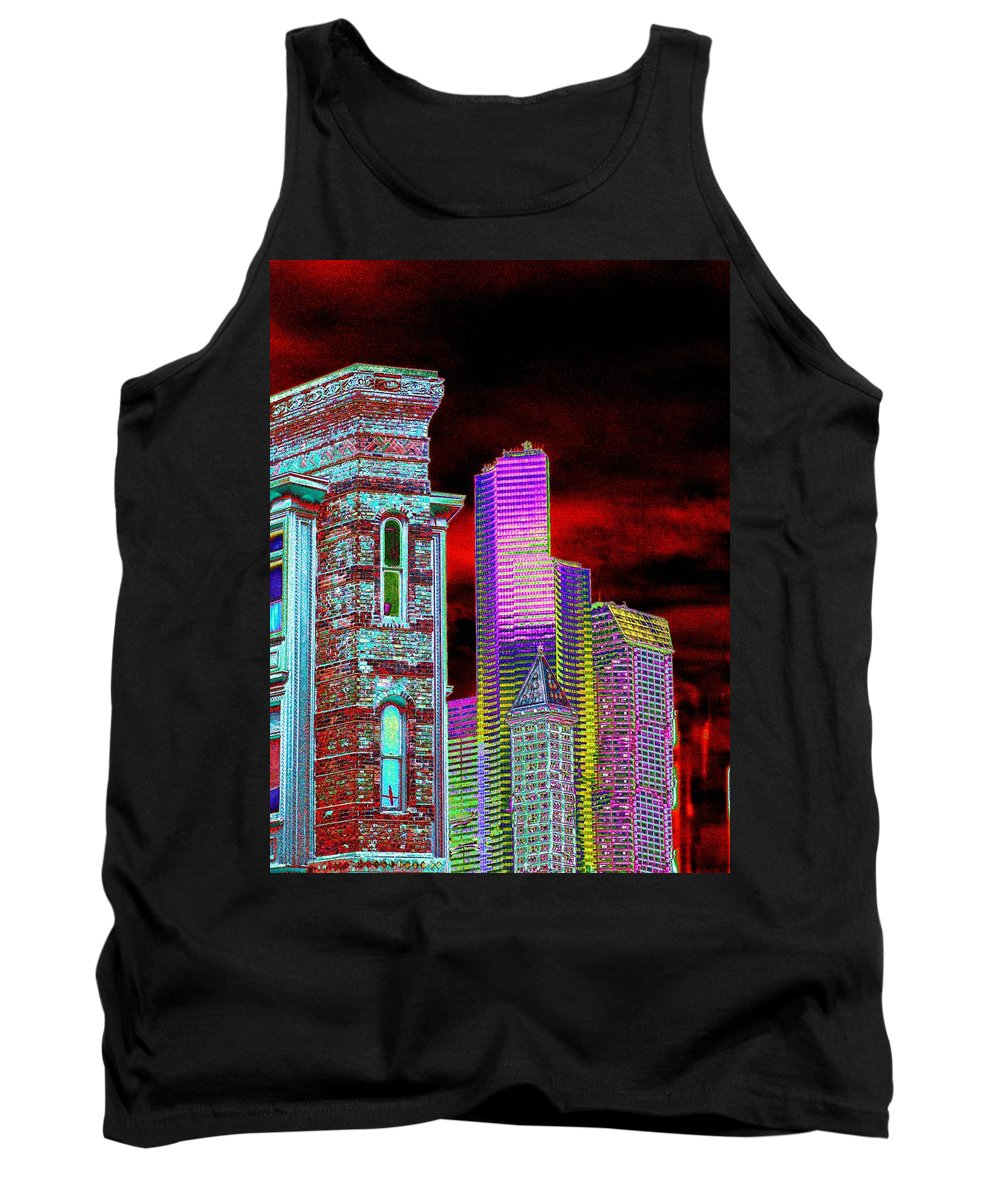 Seattle Tank Top featuring the digital art Old And New Seattle by Tim Allen
