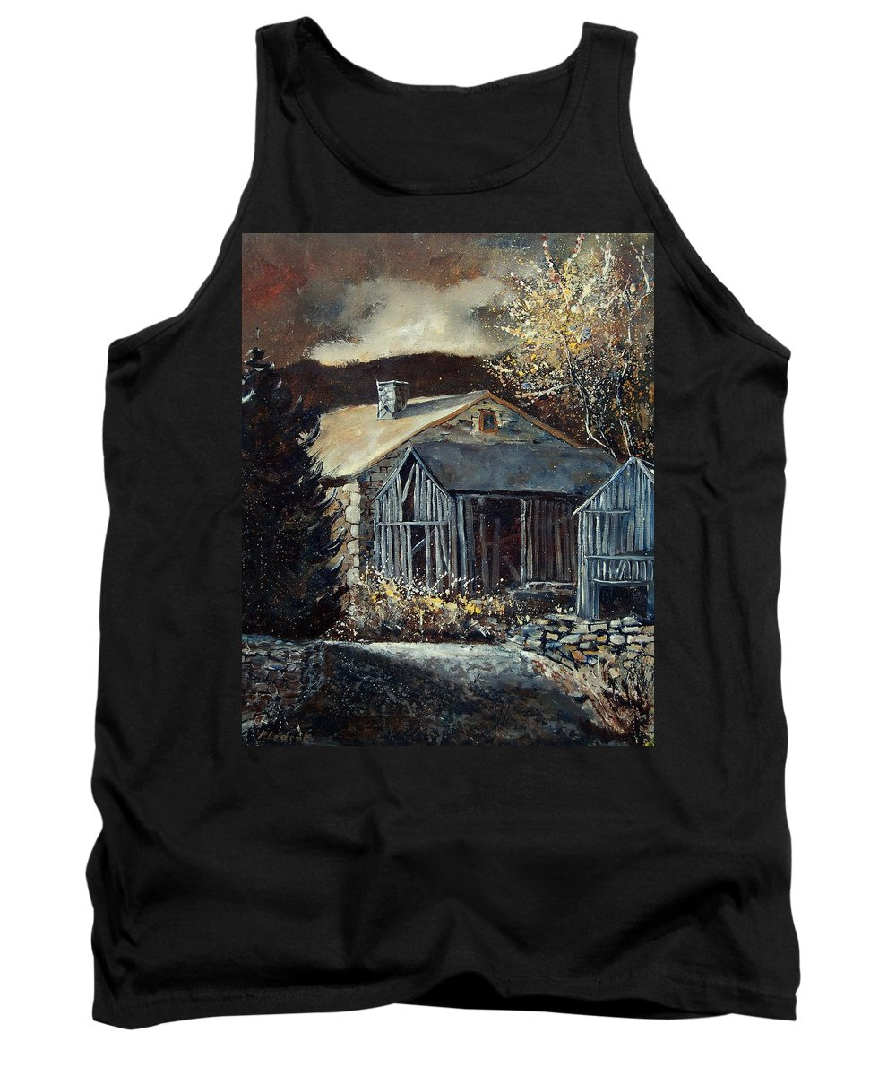 Village Tank Top featuring the painting Old Barns by Pol Ledent