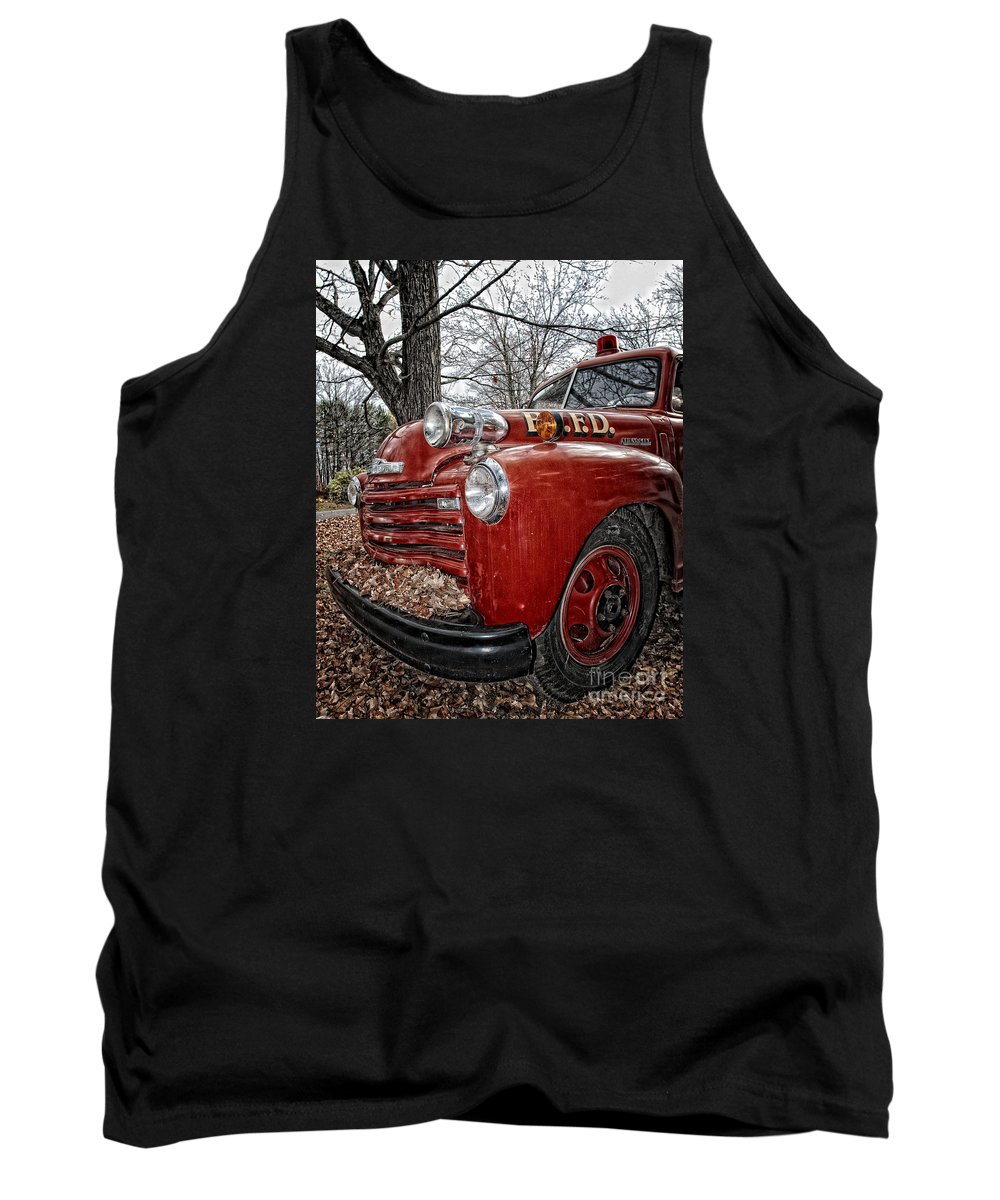 Fire Truck Tank Top featuring the photograph Old Fire Truck by Timothy Flanigan