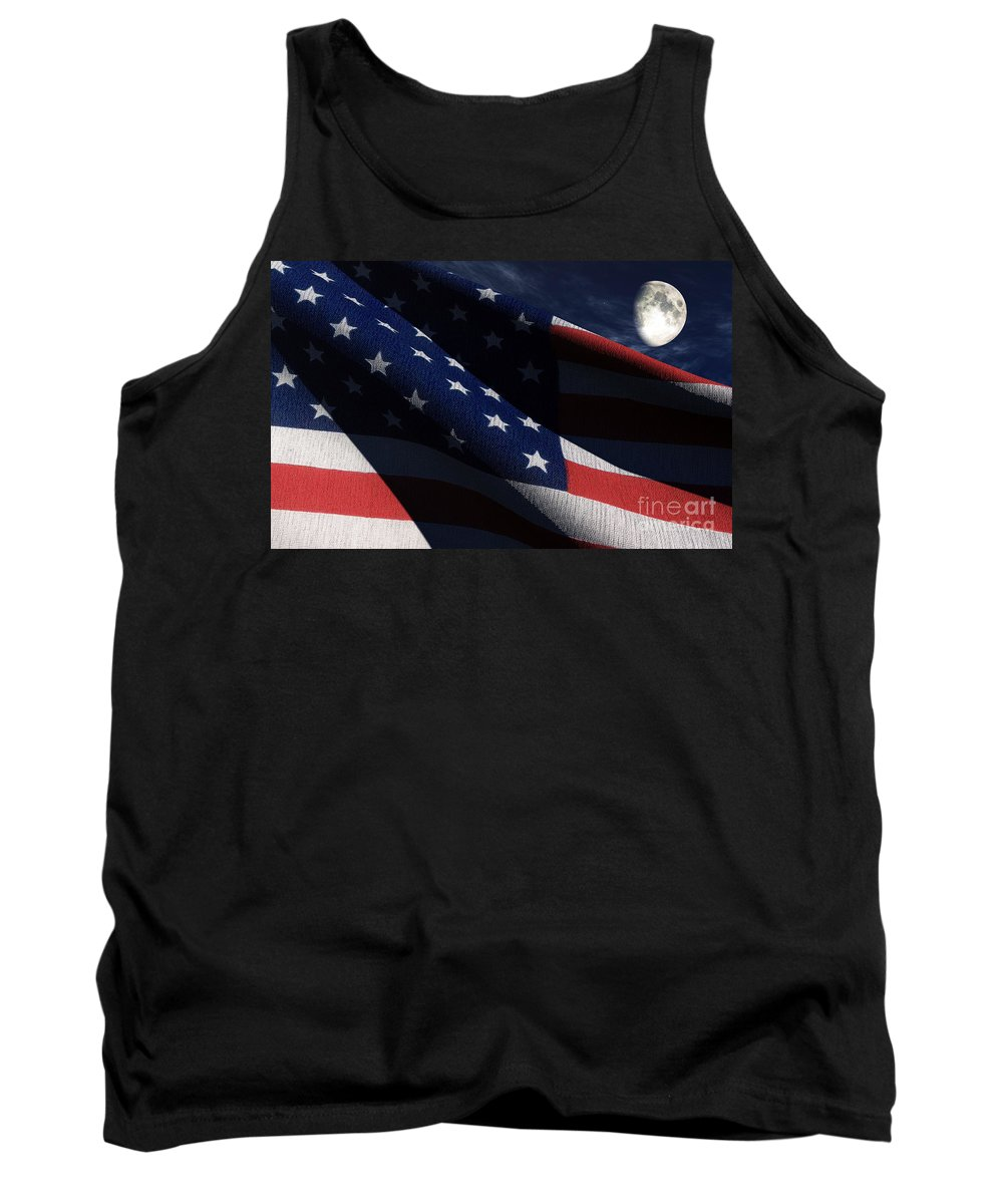 Us Flags Tank Top featuring the digital art Old Glory 2 by Richard Rizzo