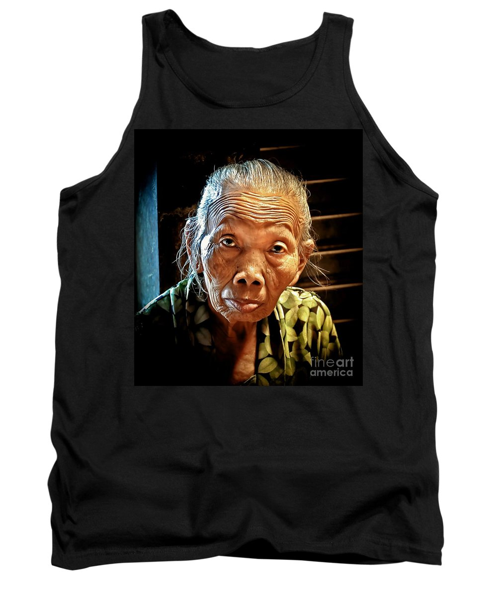 Tank Top featuring the photograph Old Lady by Charuhas Images