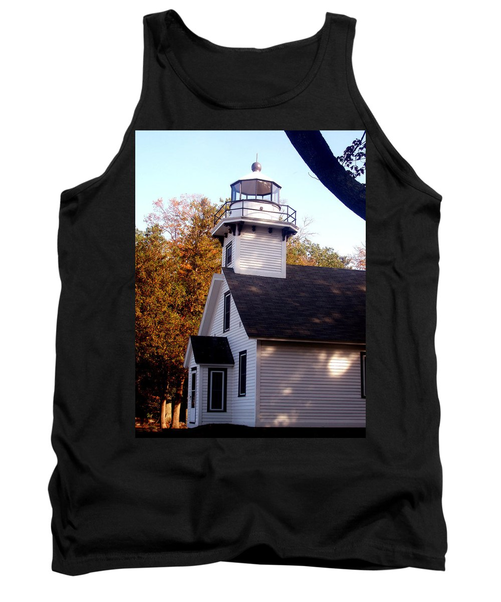 Lighthouse Tank Top featuring the painting Old Mission Point Light House by Wayne Potrafka