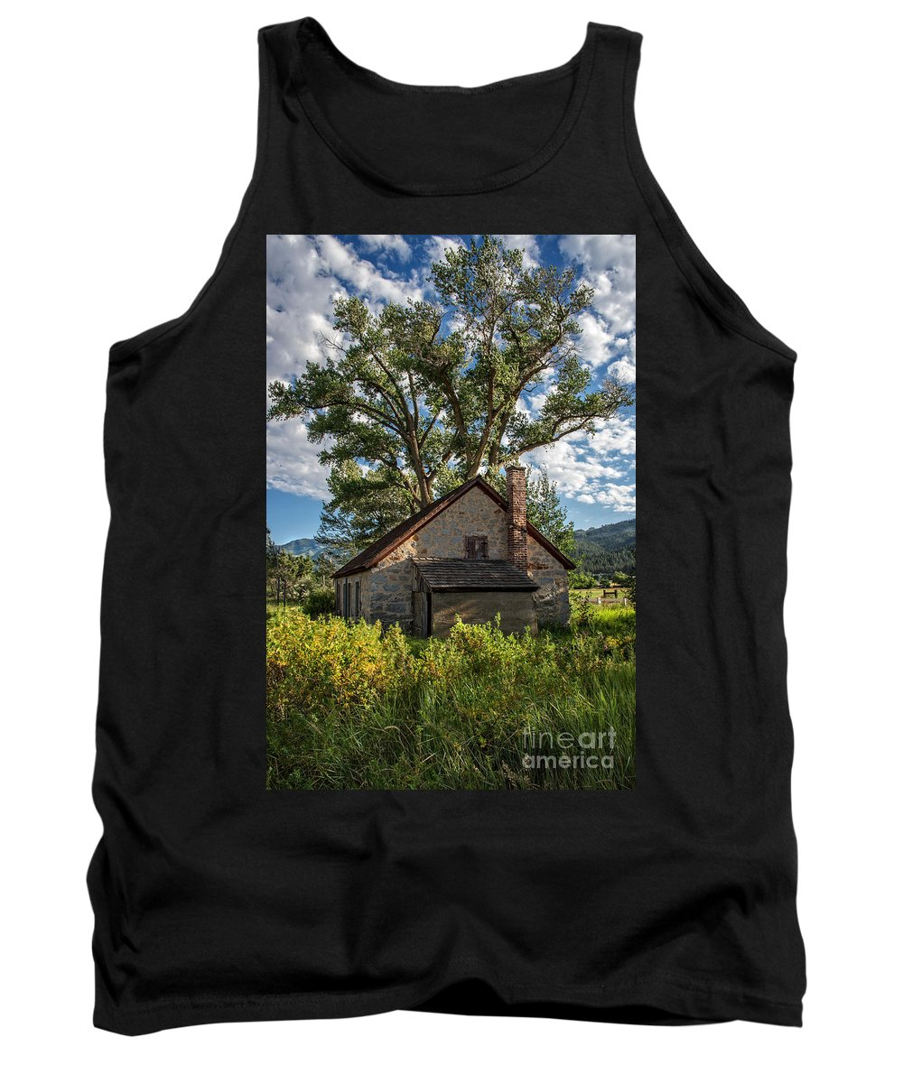 Structure Tank Top featuring the photograph Old Stone Ranch Structure by Dianne Phelps