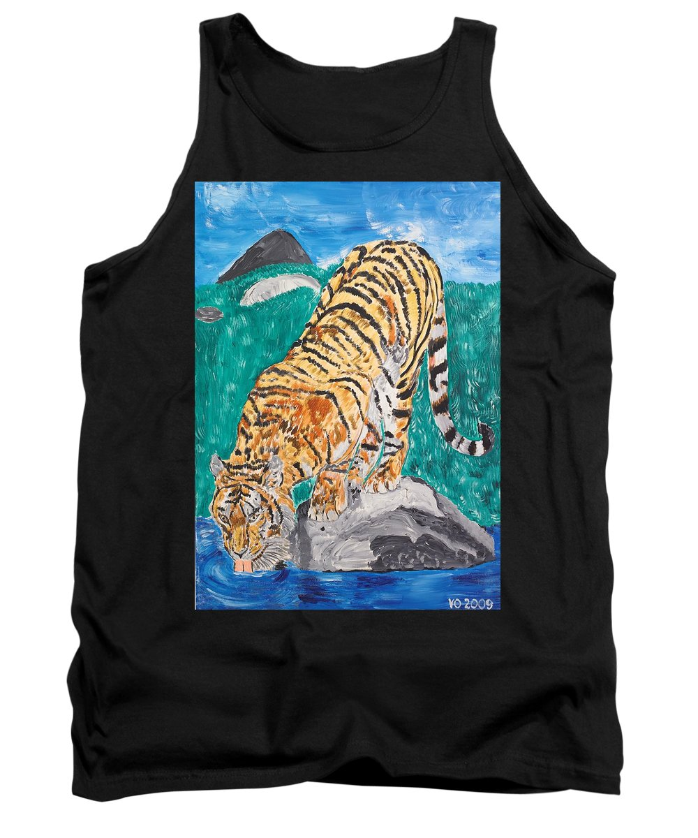 Cat Tank Top featuring the painting Old Tiger Drinking by Valerie Ornstein