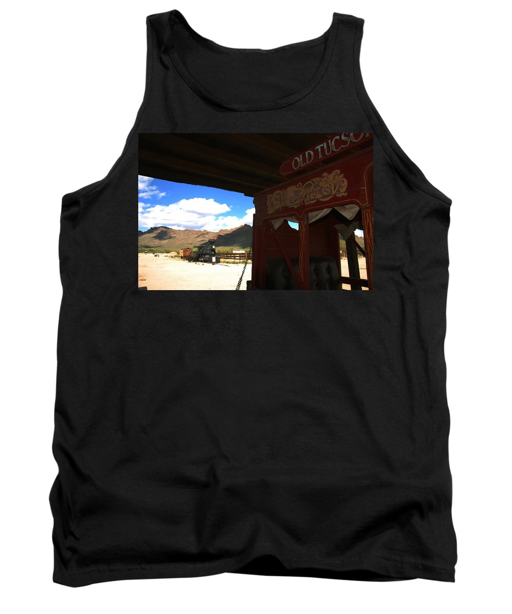 Old Tuscon Tank Top featuring the photograph Old Tuscon Stage Coach And The Reno by Susanne Van Hulst