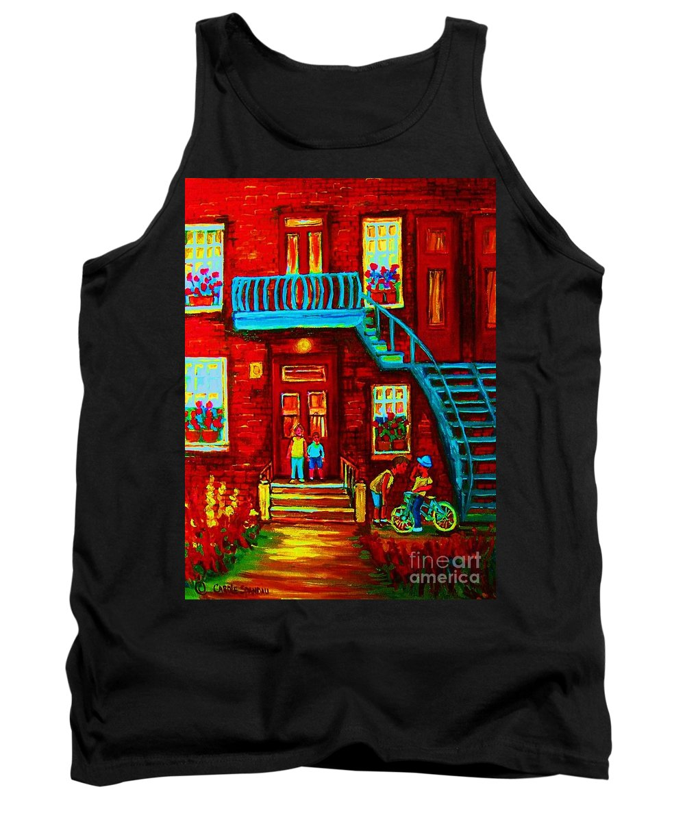 Bikes Tank Top featuring the painting One Bike For Two Brothers by Carole Spandau