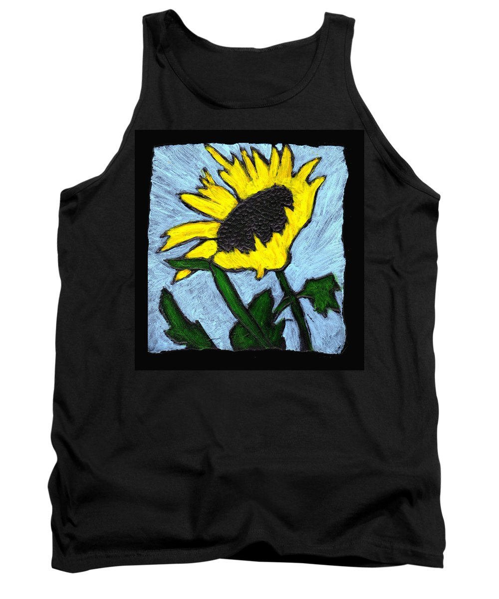 Flower Tank Top featuring the painting One Sunflower by Wayne Potrafka