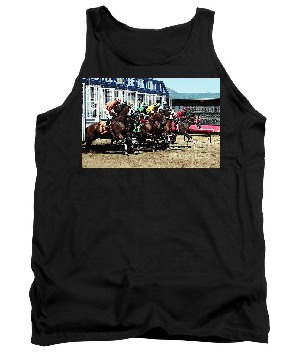 Horse Tank Top featuring the photograph Only A Mile To Go by Kathy McClure