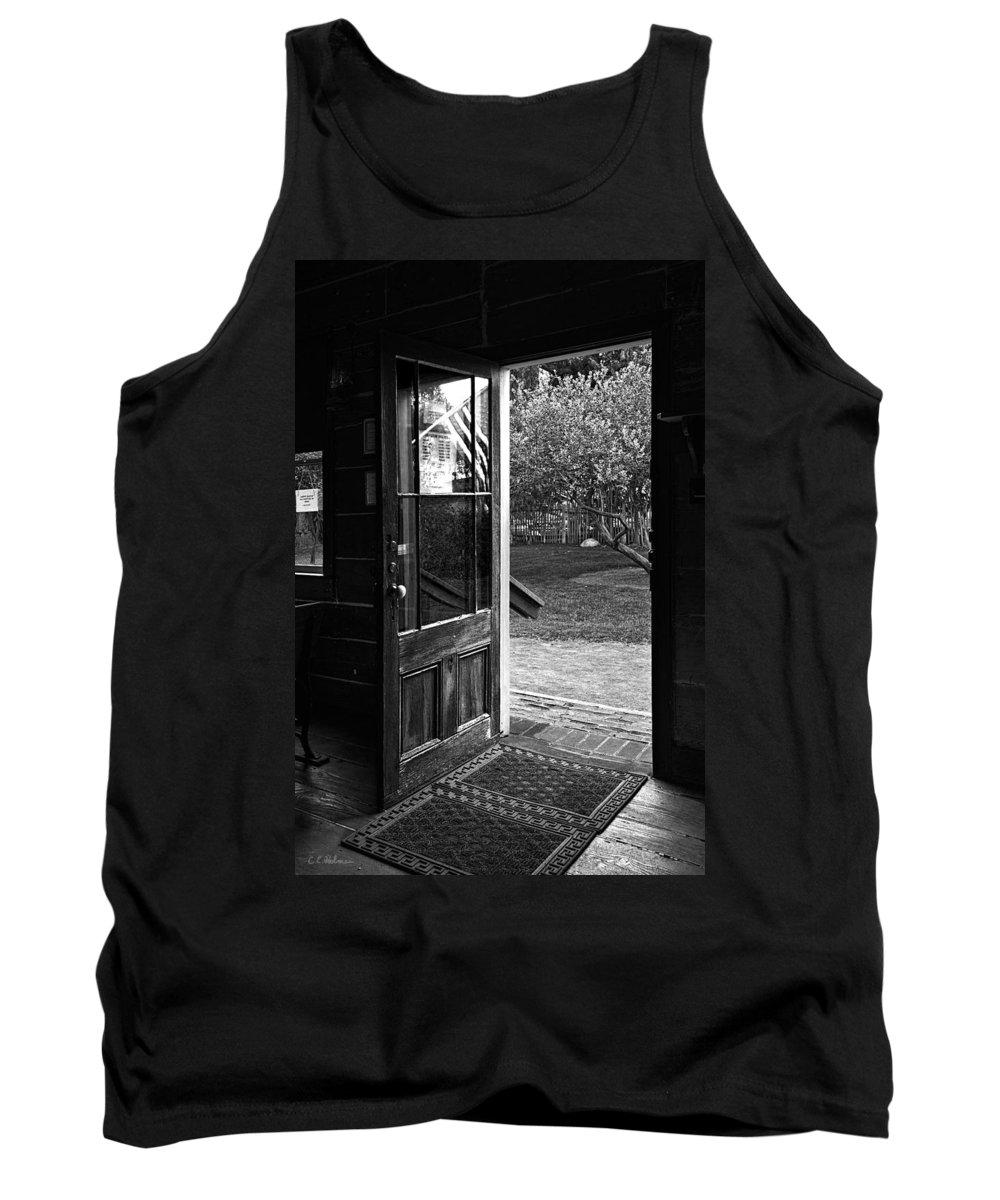 Door Tank Top featuring the photograph Open Door B-w by Christopher Holmes