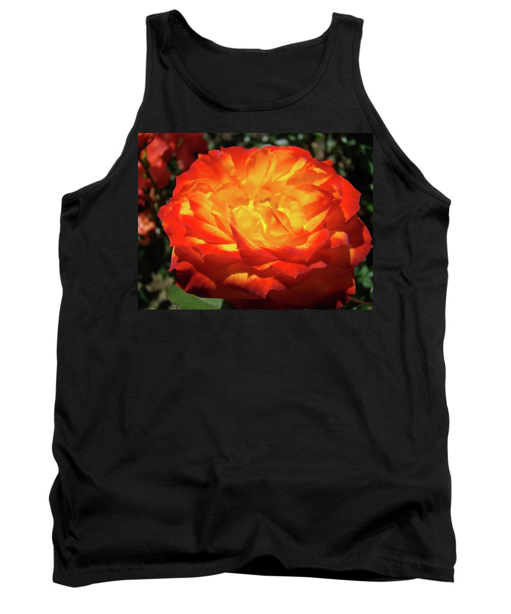 Rose Tank Top featuring the photograph Orange Red Rose Flower Art Prints Giclee Baslee Troutman by Baslee Troutman