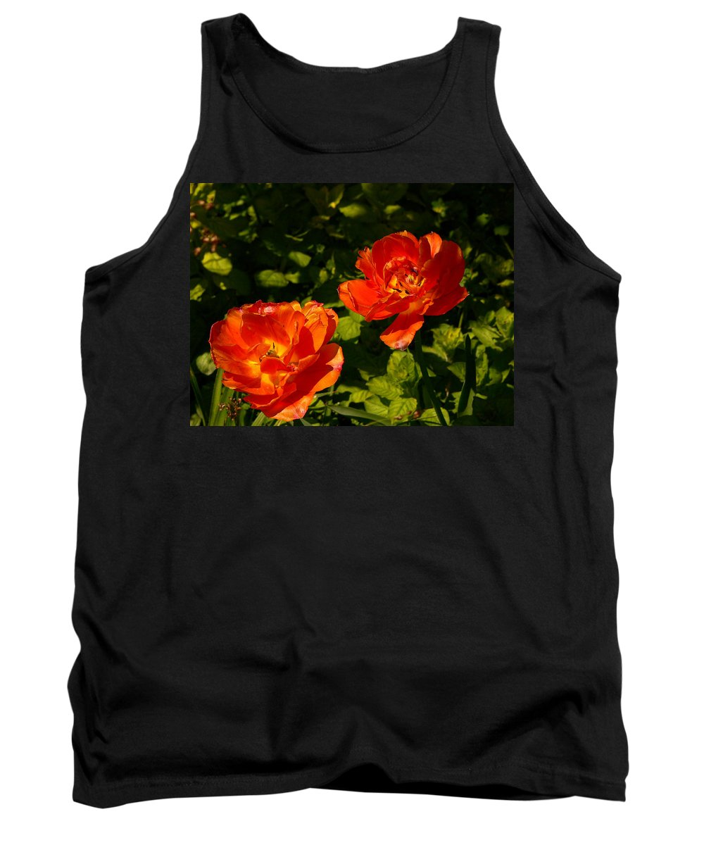 'orange Tulips' Tank Top featuring the photograph Orange Tulips In My Garden by Helmut Rottler