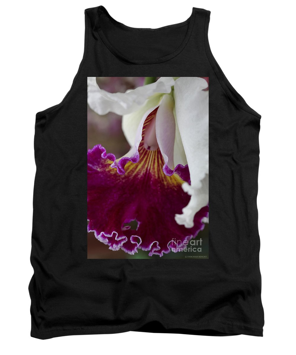 Orchid Tank Top featuring the photograph Orchid Ruffle by Deborah Benoit