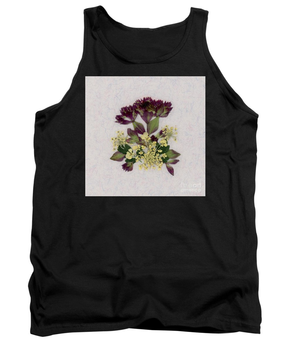 Oregano Pressed Flowers Floral Queen-ann's-lace Garden Leaves Foliage Tank Top featuring the photograph Oregano Florets And Leaves Pressed Flower Design by Em Witherspoon