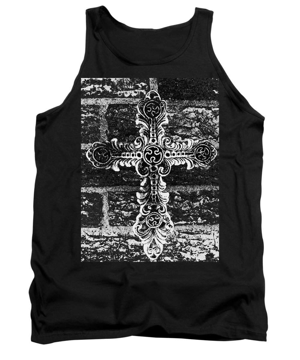 Iron Tank Top featuring the photograph Ornate Cross 3 Bw by Angelina Vick