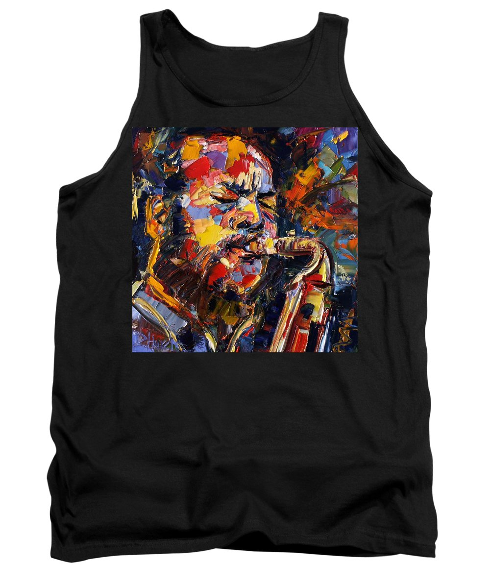Jazz Tank Top featuring the painting Ornette Coleman by Debra Hurd