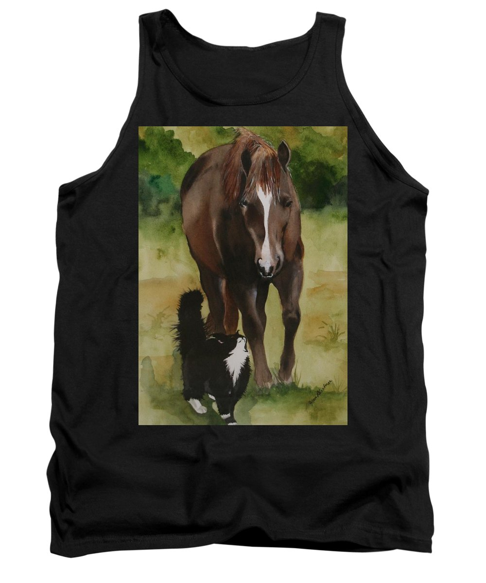 Horse Tank Top featuring the painting Oscar and Friend by Jean Blackmer