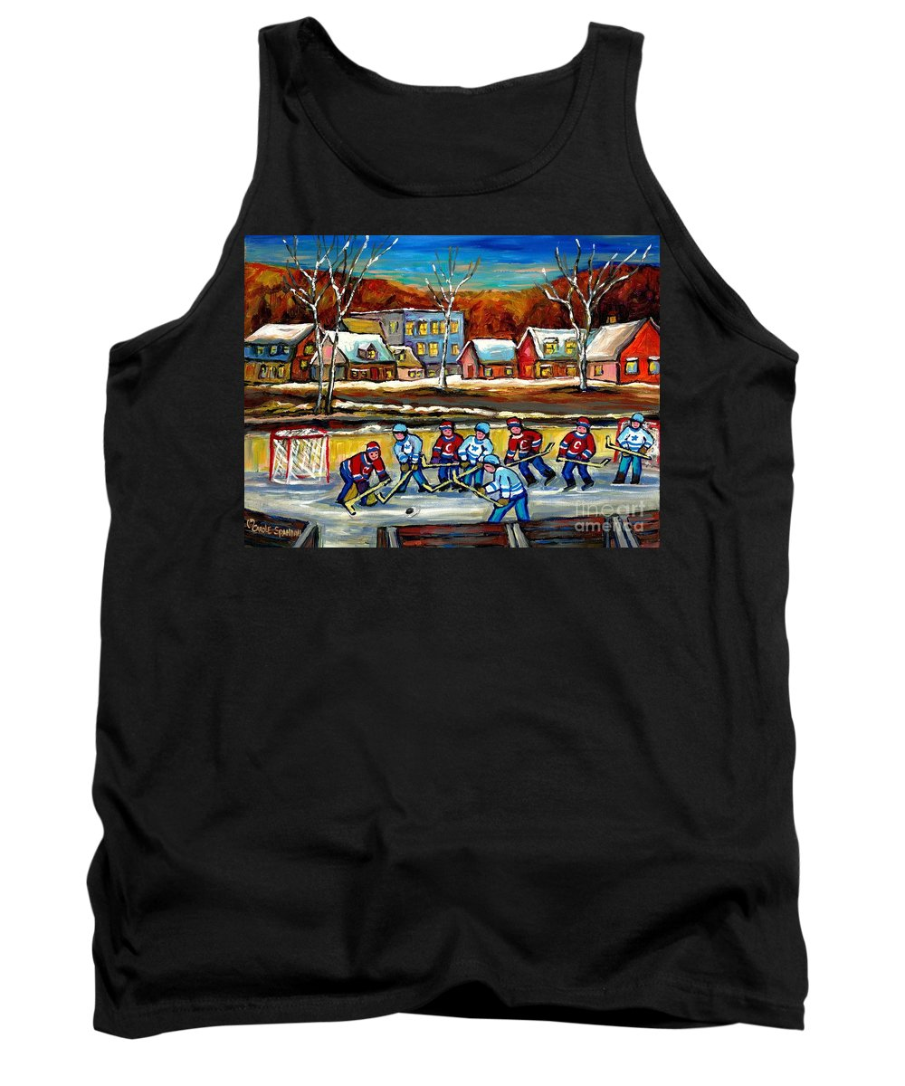 Country Hockey Rink Tank Top featuring the painting Outdoor Hockey Rink by Carole Spandau