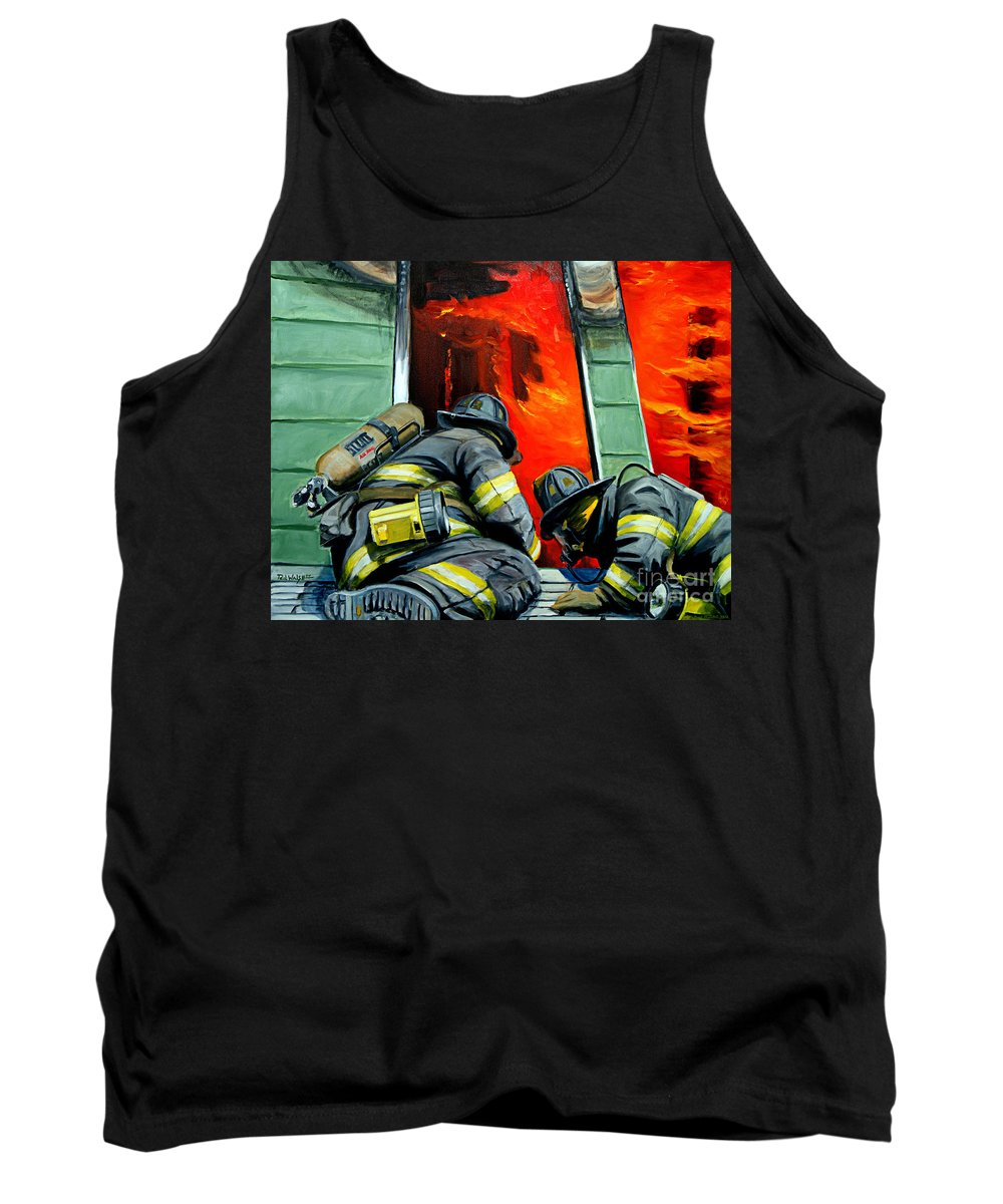 Firefighting Tank Top featuring the painting Outside Roof by Paul Walsh
