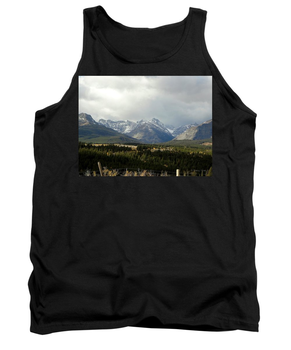 Mountains Tank Top featuring the photograph Over The Fence To Dusted Mountains by Tracey Vivar