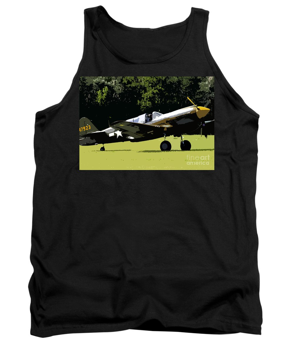 P 40 Tank Top featuring the painting P40 Take Off by David Lee Thompson