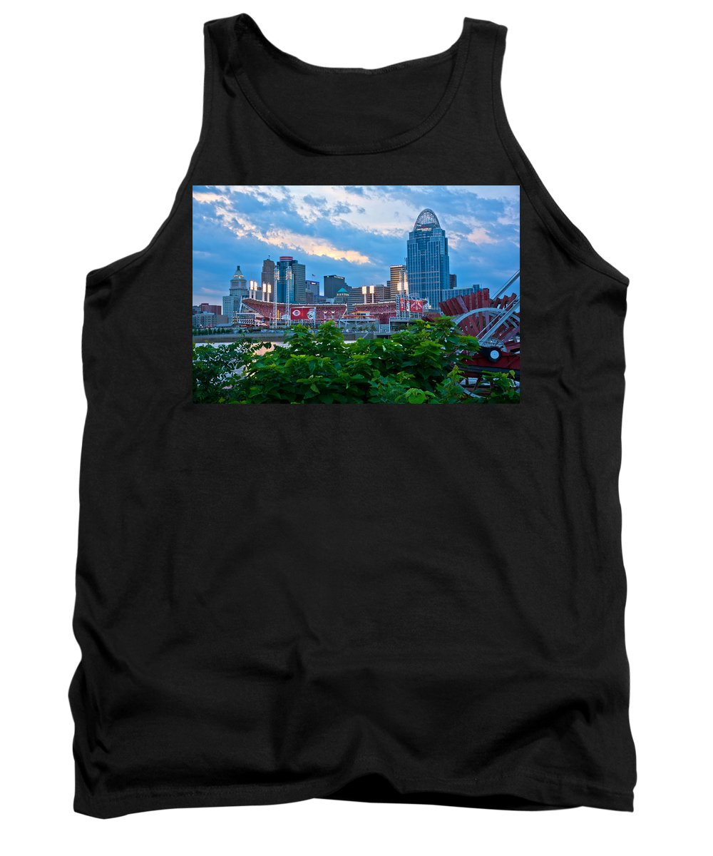 Allstars Game Tank Top featuring the photograph Paddle Wheel And Stadium by Randall Branham