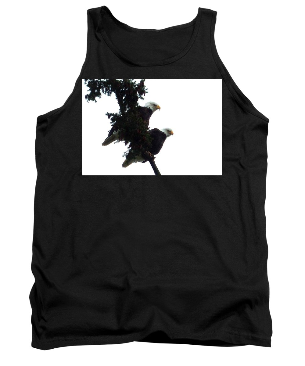 Pair Tank Top featuring the photograph Pair Of Eagles In A Tree by Karen Molenaar Terrell