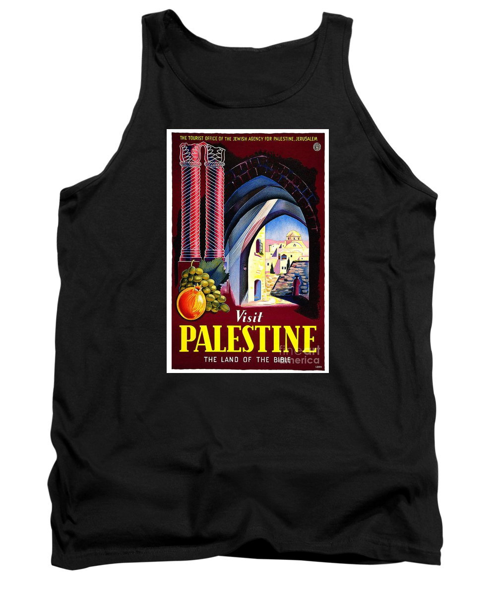 Palestine Travel Poster Tank Top featuring the painting Palestine Travel Poster by Pd