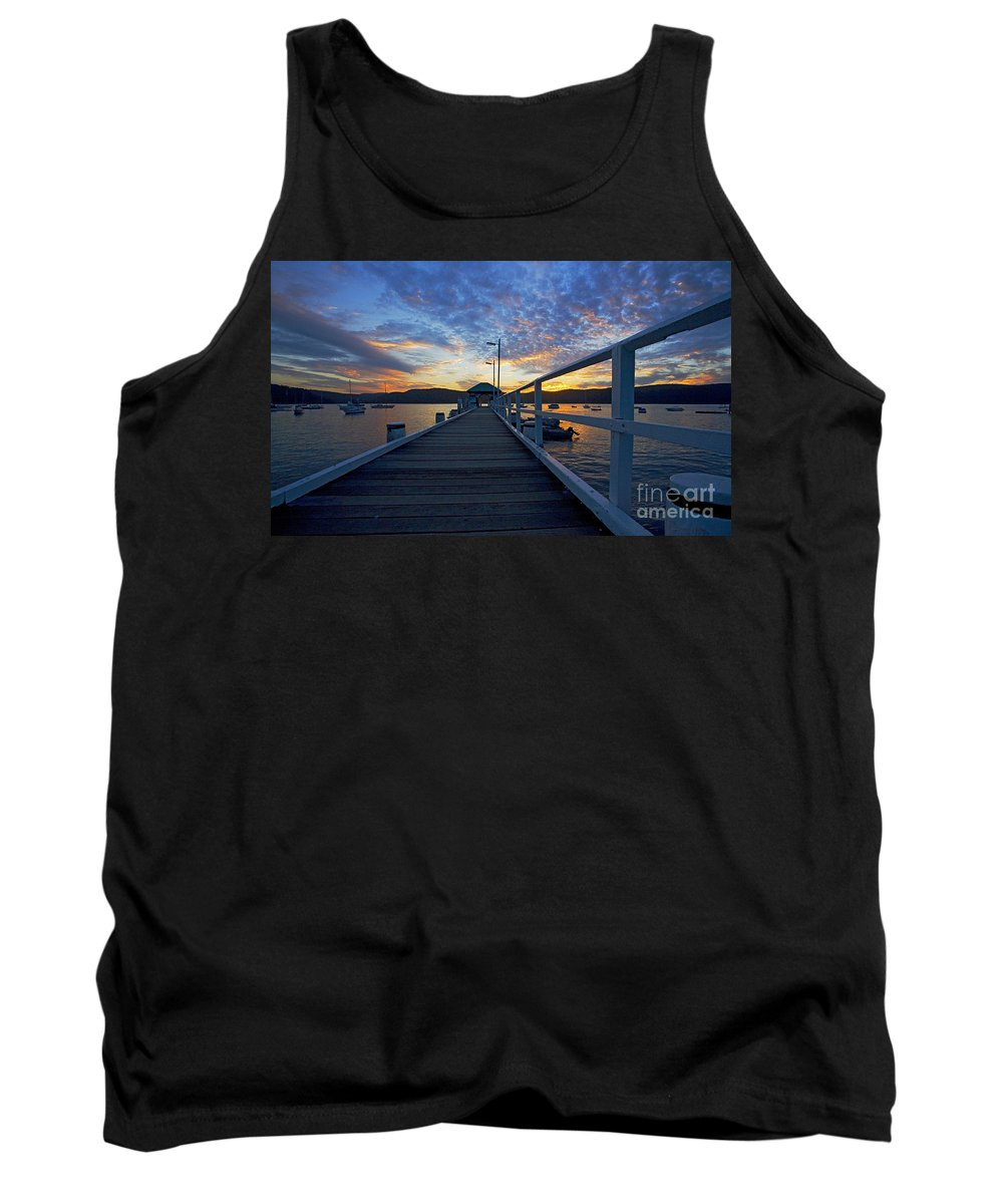 Palm Beach Sydney Wharf Sunset Dusk Water Pittwater Tank Top featuring the photograph Palm Beach Wharf At Dusk by Sheila Smart Fine Art Photography