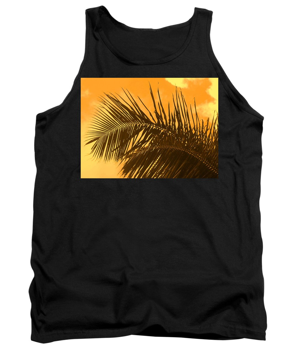 Palm Tank Top featuring the photograph Palm Frond Sunset by Ian MacDonald