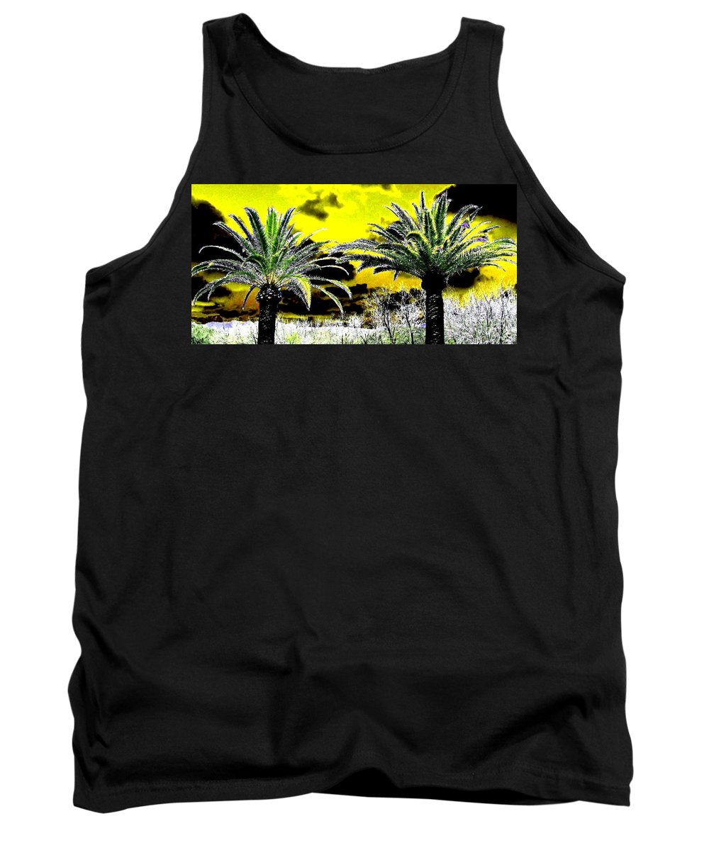 Palm Trees Tank Top featuring the digital art Palm Paradise  by Will Borden