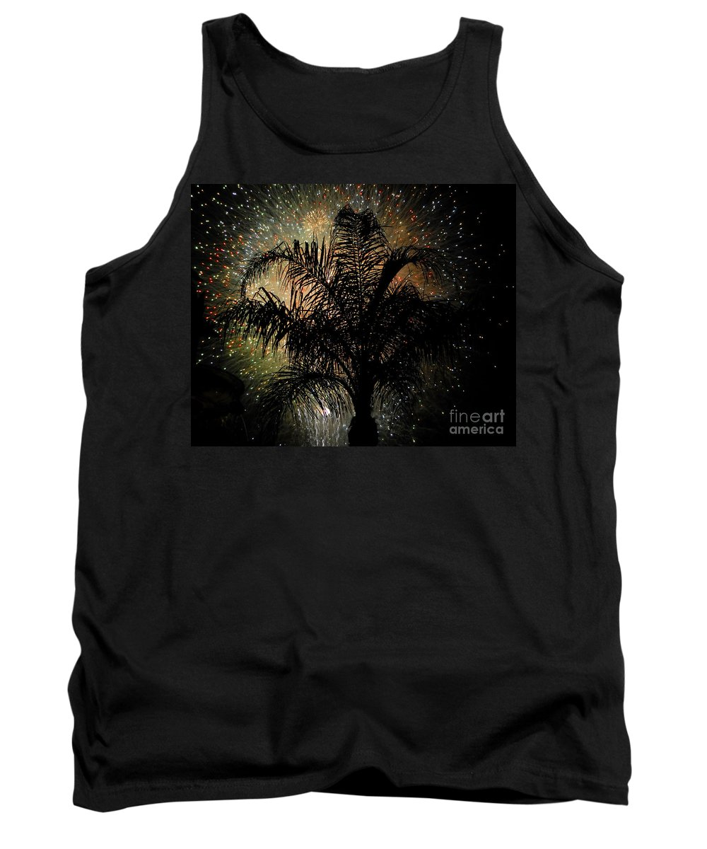 Fireworks Tank Top featuring the photograph Palm Tree Fireworks by David Lee Thompson