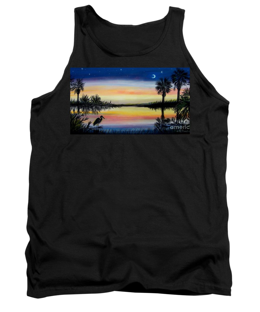 Palmetto Night Tank Top featuring the painting Palmetto Tree And Moon Low Country Sunset by Patricia L Davidson